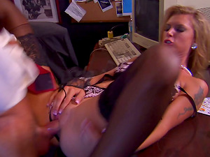 Sexy blonde Brooke Banner lies down on a desk and gets fucked