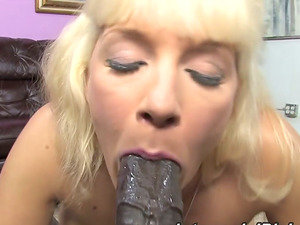 Horny mature lady will deepthroat and rail a black one in Point of view