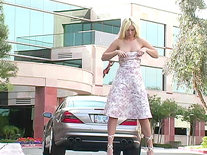 Crazy Adult movie star Alison Angel Flashes Her Beaver in Public