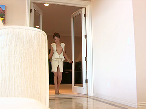 A charming honey tears up her miniskirt to demonstrate the vulva
