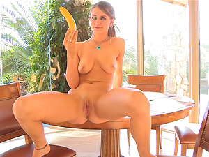 Only a thick banana can fit in her moist twat today