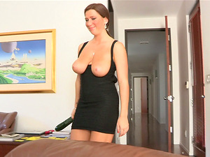 Big boobed Katherine hammers her vagina with a cucumber