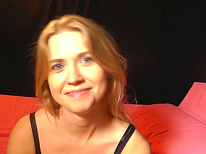 Violette fellates on a stud's dick until getting a facial cumshot