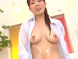 Sayuri Honjyou licks a prick and kneads it against her Japanese vulva