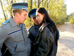 Sexy dark haired Mercedes cracks road rules and gets fucked by cops