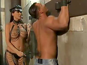 Female police officer fucks in the police-station and gets jizz to her tits