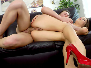 Horny Adelle gets her vulva gobbled and fucked by an interviewer