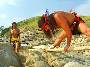 Gonzo clip of Eva Roberts luving ass fucking rear end style romp on a beach