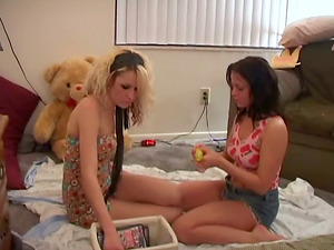 Blonde bitch and her dark-haired female friend agreed for FFM threesome