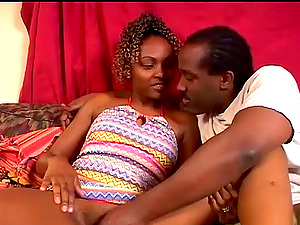 A curly Black chick gets fucked in a pile driver position