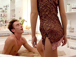 Slender Anya is fucked and facialized inwards a bath