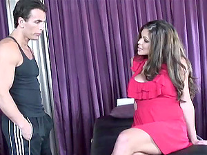 A nice lady in a pink sundress gets pounded hard by a big shaft man