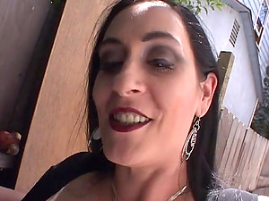Big-titted cougar Fuckslut Raven deep-throats a dick and gets fucked rear end style