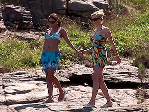 Tarra Milky and Aneta Keys eat each other's cunts on the seashore