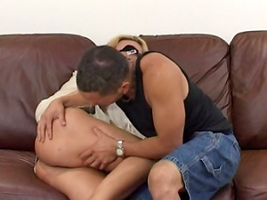 Blonde accepts jizm in mouth after inhaling a dick and bonked in a clothed fuck-a-thon activity