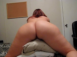 Hot chubby honey is railing jokey on the pillows places inbetween her gams