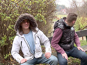 Lustful poofter Diego makes love with his BF in a park