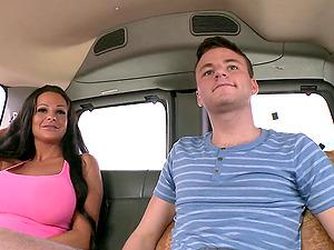 Faggots In A Bus With A Hot Bimbo Fucking As She Stares