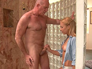 Old and Youthfull Scene Where a Middle Age Fellow Fucks a Teenager Honey