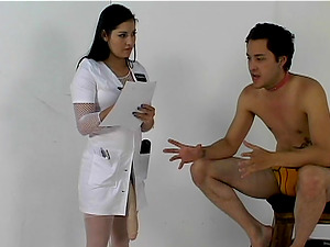 Captivating female dominance nurse with a strapon pegging her man