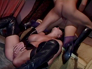 Two tarts Donna Marie and Jane Berry gets banged in FFM threesome