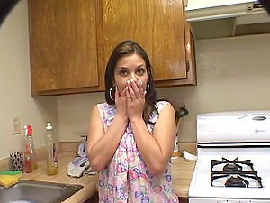 Huge-titted Housewife Deep-throats in the Kitchen