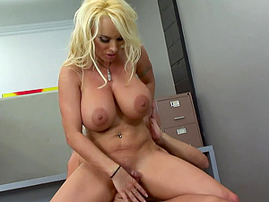 Hot office lovemaking with the buxom blonde Holly Halston