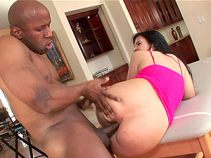 Chubby Black-haired Liking A Mind-Blowing Interracial Fuck On A Rubdown Table