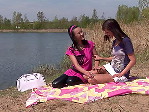 Angelica Black and Megan plaything each other's cunts at a picnic