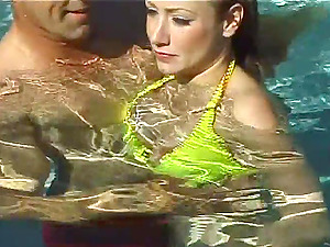 Extreme lovemaking vid with nice blonde Tiffani playing with a dick in a pool