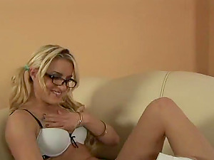 Tattooed Ponytails Blonde In Glasses Frigging Her Trimmed Beaver