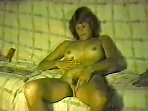 Horny blonde masturbates with a fuck stick in antique movie