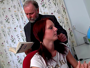 Pretty Pogtailed Ginger-haired Nubile Is Fucked By Her Tutor