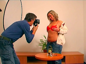 Chubby Blonde With Big Tits Getting Her Bald Labia Gobbled By An Older Man