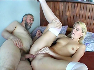 Old Dick Goes Deep Into Youthfull Blonde Stunner