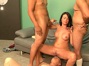 Ashli Ames is covered by man gravy after being gang-fucked