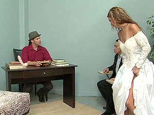 Hot Honey In Wedding Sundress Strips And Gets Drilled