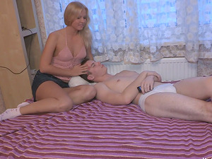 Russian Cowgirl In Miniskirt Drinks Jizm After Being Screwed