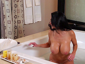 Ava Addams isf fucked ditzy by a man after he spaies on her