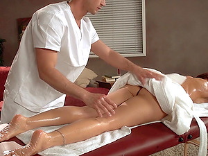 Oiled up Janet Mason gets banged by her masseuse