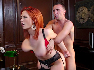 Increibly buxomy ginger-haired is fucked by a man in his office