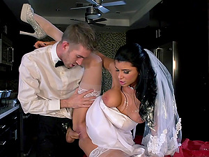 bride in stockings pinned and drinks jizz after wedding