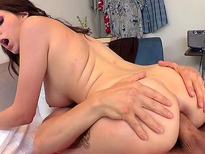 Dark haired fuckslut Luna Kitsuen welcomes a fat penis in her asshole