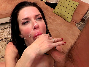 Nostalgic Dark haired In Miniskirt Getting Facial cumshot Jizz flow