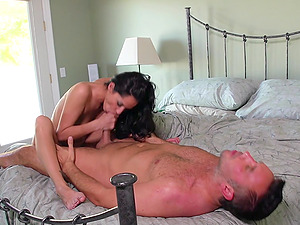 Sexy brown-haired railing large dick xxx before getting facial cumshot jizz flow