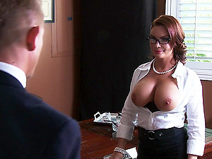 Big-titted mom Diamond Foxxx entices Bill Bailey and fucks him in an office