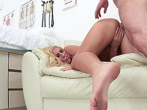 Tasha Reign finishes up with a messy facial cumshot after being fucked by her doc