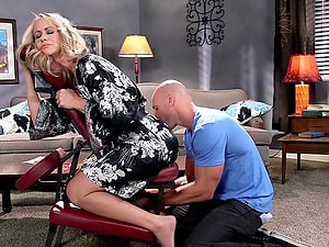 Simone Sonay is fucked by her masseuse after a calming rubdown
