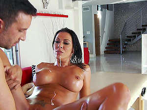 Horny Brown-haired Screwed After A Hot Lubed-up Rubdown