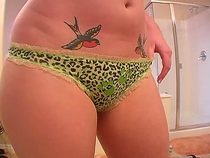 Movie of hot black-haired honey attempting fresh g-strings in the bathroom